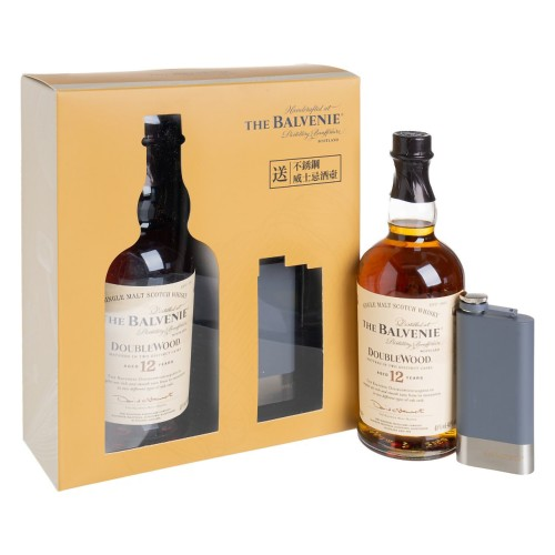 The Balvenie 12 Years Old Double Wood Single Malt Whisky *With Two Tone Flask Gift Set 700ml